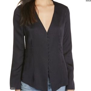 JOIE navy blue blouse with button details L